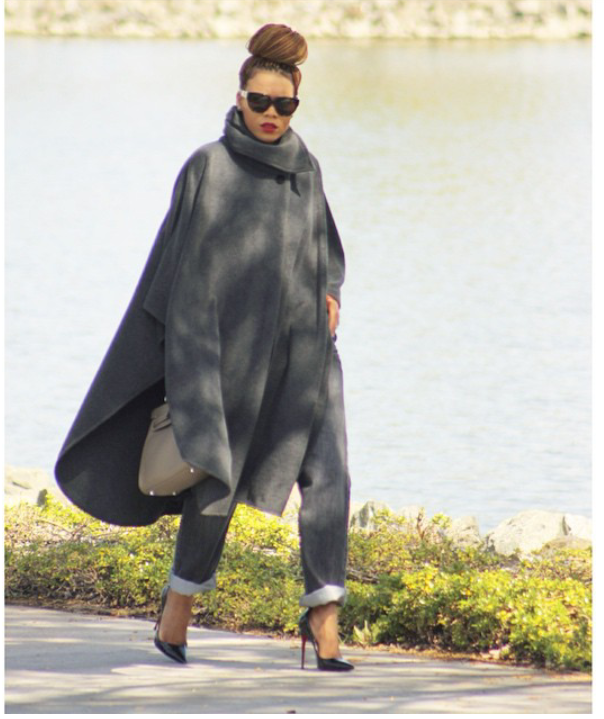 Winter fashion...cocoon cape, jeans & heels....Nice bun to make it more stylish.