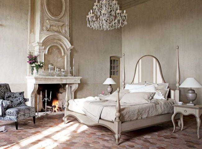 Wohnideen Schlafzimmer Vintage Creme Hohe Decke