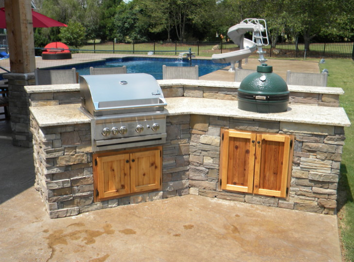 Beautiful Backyard With Big Green Egg Built Into The Outdoor Kitchen Backyard Kitchen Outdoor Kitchen Outdoor Kitchen Design