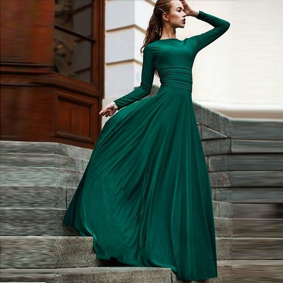 New Emerald Green Long Chiffon Formal Evening Dresses With