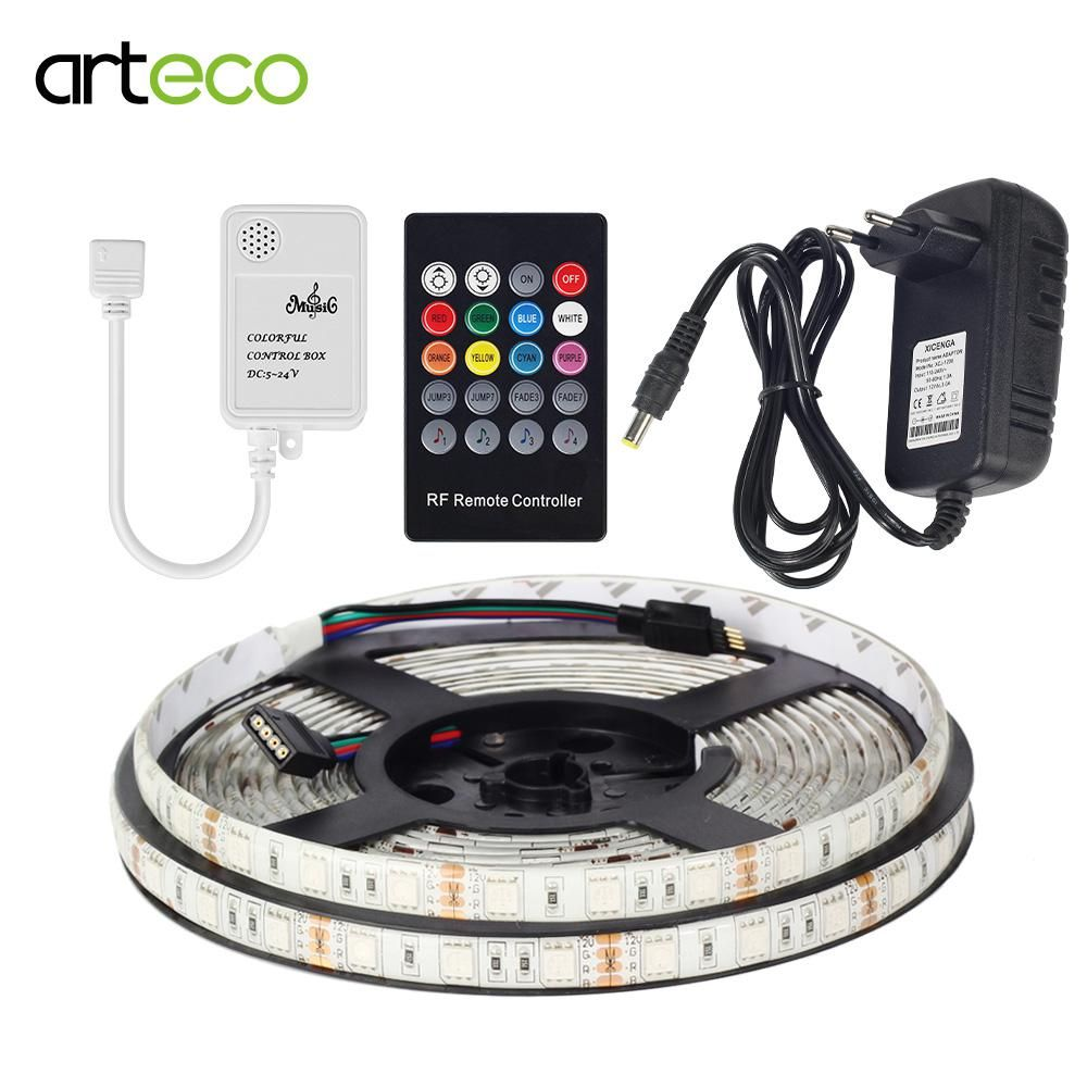 Rgb Led Strip Light 5050 Smd 5m Tape Lamp Flexible Us Controller For Strips With Rf 20 Keys Remote Control Waterproof Diode