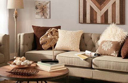 Tribal Living Room With Warm Brown Accents