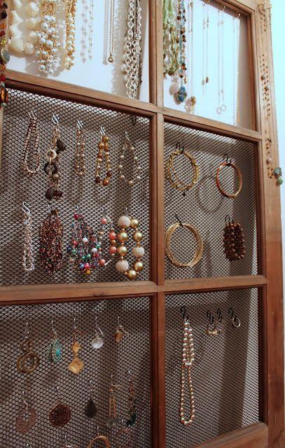 Old window into jewelry organizer Organization Pinterest