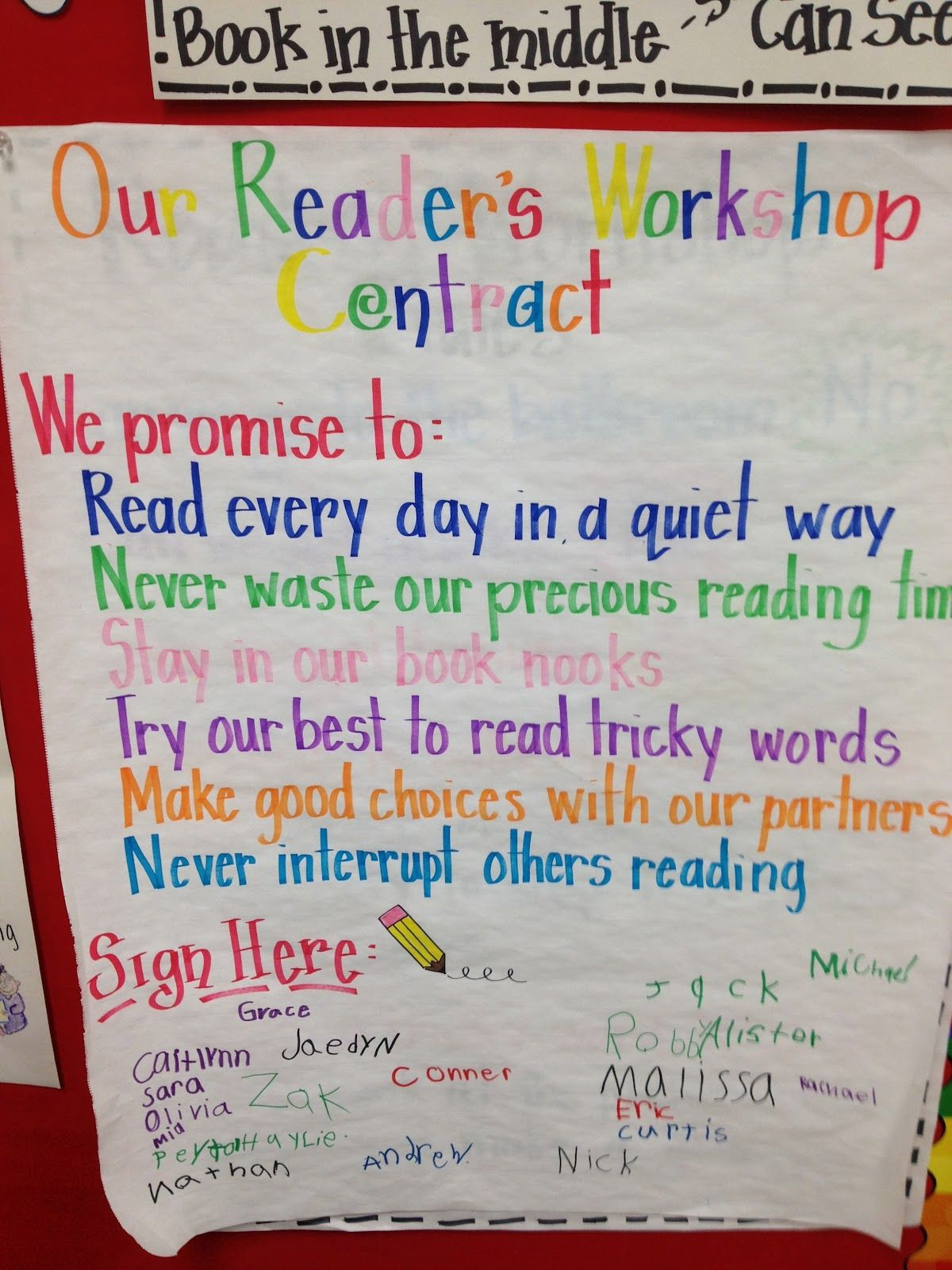 """""""Our Readers Workshop Contract"""" (anchor chart.)  This site also has lots of sample anchor charts for reading and writing"""