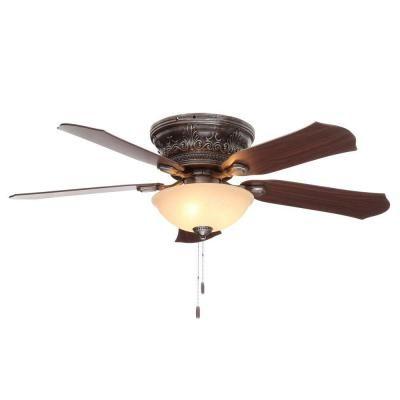 Hunter viente 52 in indoor roman bronze flushmount ceiling fan with hunter viente 52 in indoor roman bronze flushmount ceiling fan with light kit 53035 the home depot aloadofball Choice Image