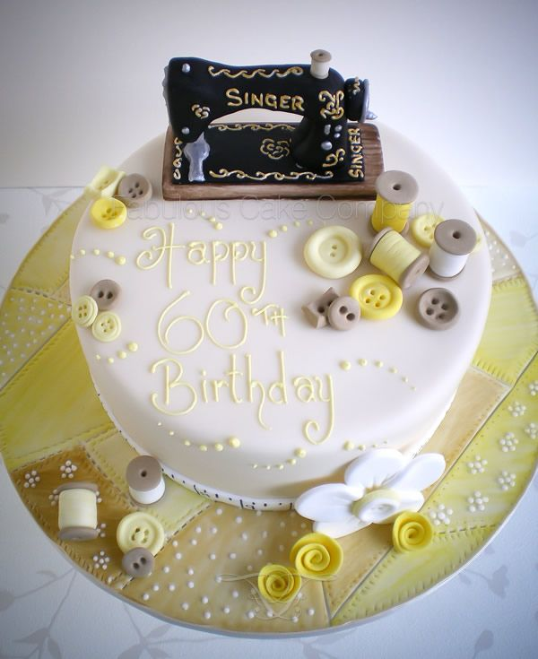 Another view Sewing Machine Birthday Cake by The Fabulous Cake Company in Wells-next-the-Sea, North Norfolk. This sewing machine cake was for a hush hush surprise birthday for someone on holiday close by to us in Wells and the brief was an old fashioned sewing machine with a theme of yellows.