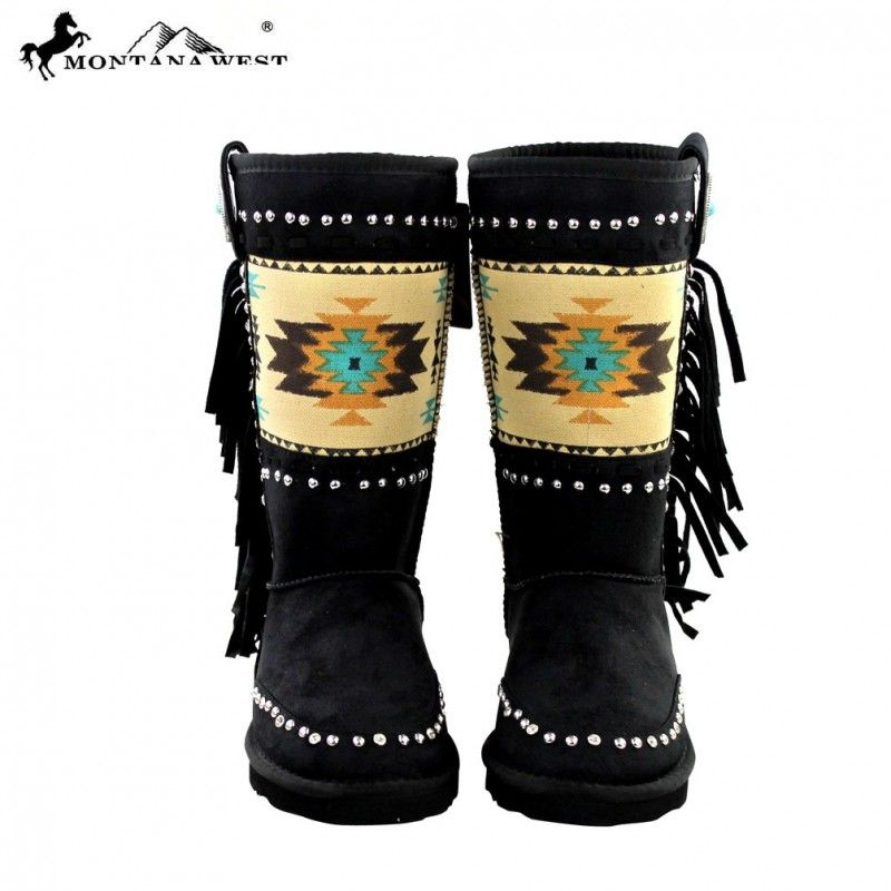 Black & Cream Aztec Rhinestone Women's Winter Boots Montana West combines the best of traditional western elements with modern design and the highest quality fabrics, trims, and hardware. These premium quality boots are a must-have for the modern cowgirls wardrobe. These are a unique design that isn't found easily, get these boots before they are gone.