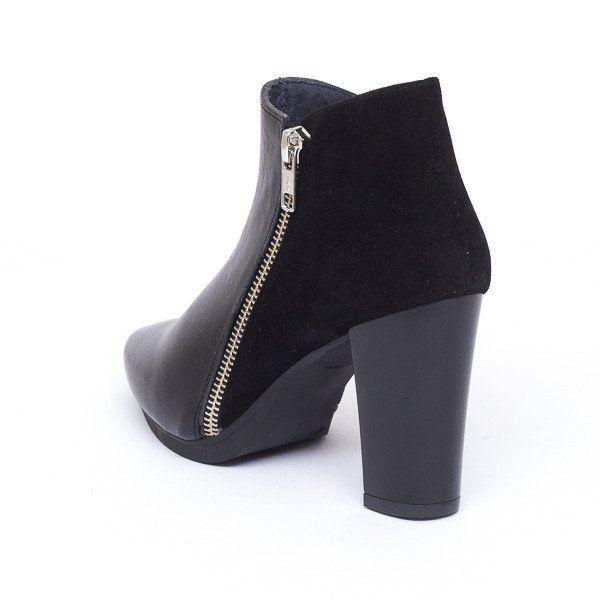 piel suede Up cuero Botin Ankle cremallera zip leather ante Boot tacón Heel negro High qZZFwUt