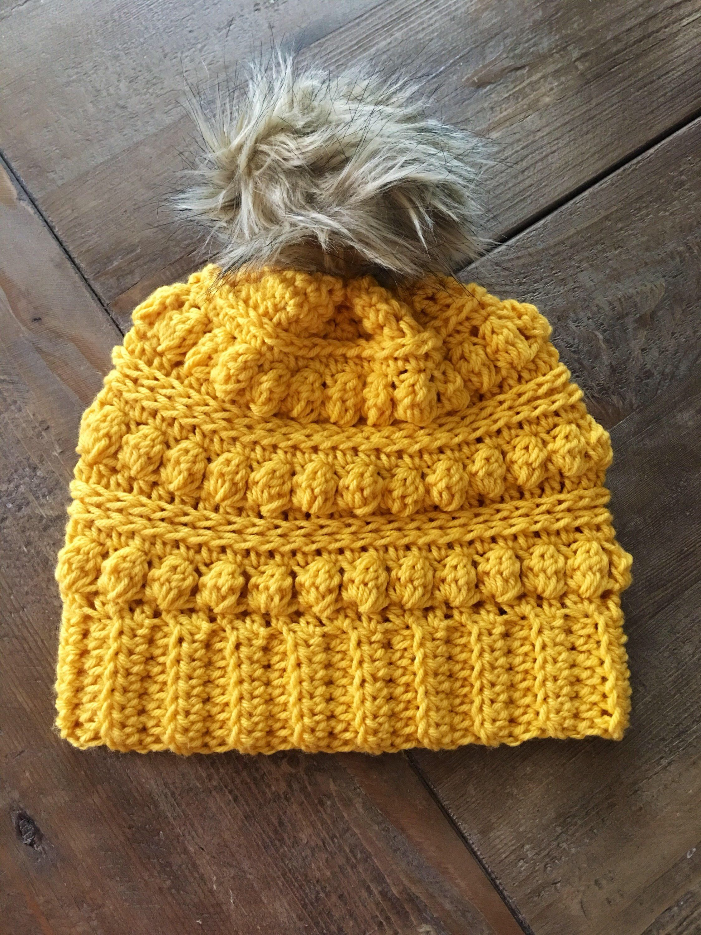 14216f1b489 Excited to share the latest addition to my  etsy shop  Adult Crochet  Mustard Texture Ridge Slouch Hat with Faux Fur Pom Pom