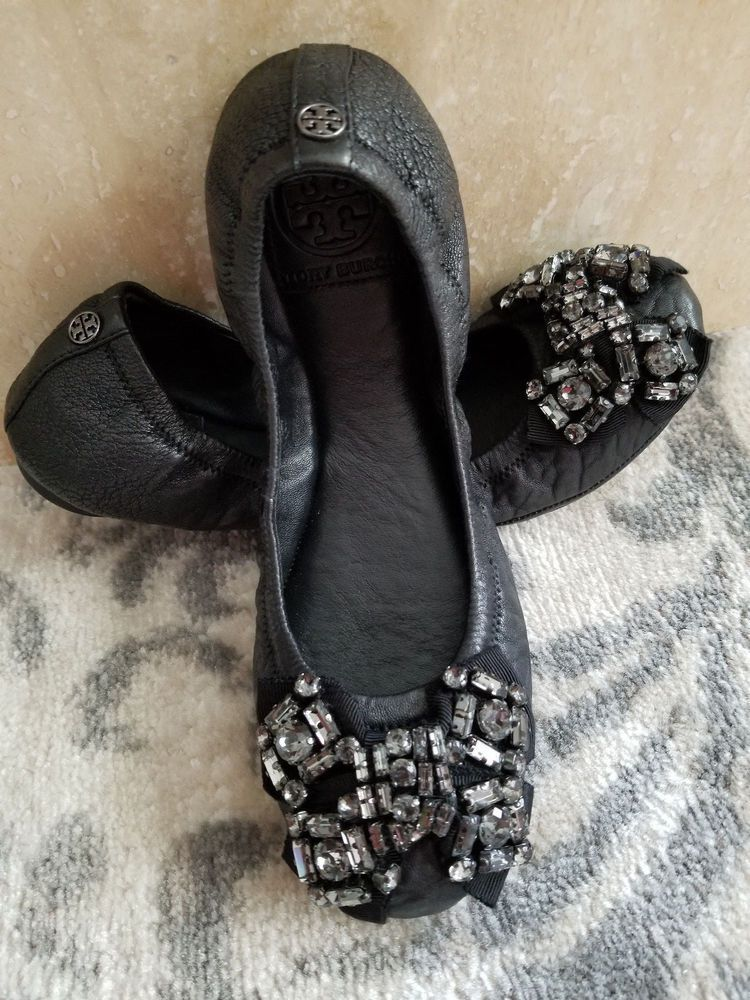 1ba0cd1b3744 NEW Tory Burch Azalea Ballet Flat Shoe Black leather crystal jeweled bow  6.5 M  fashion  clothing  shoes  accessories  womensshoes  flats (ebay link)