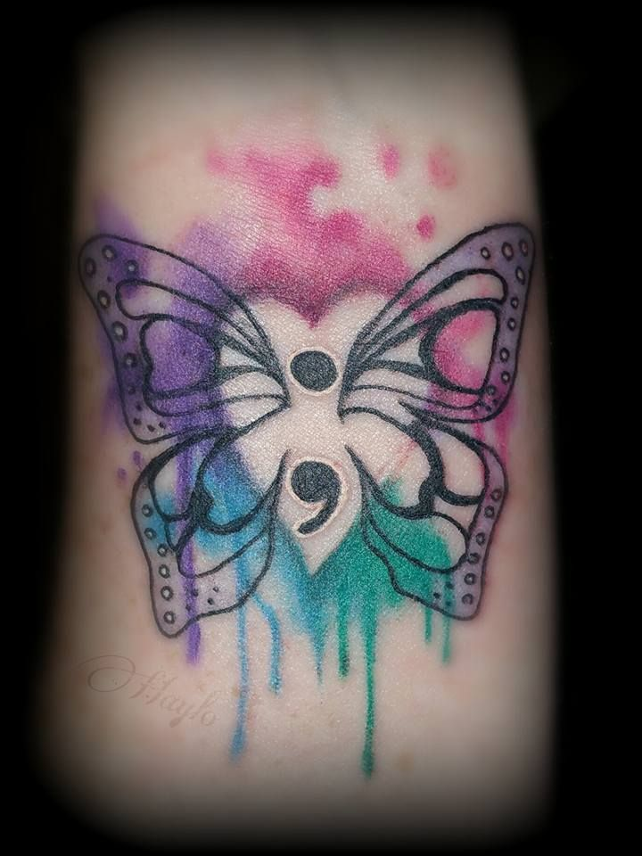 Photo of Watercolor semi-colon butterfly tattoo by Haylo! www.luckybamboota … hay @ luck …