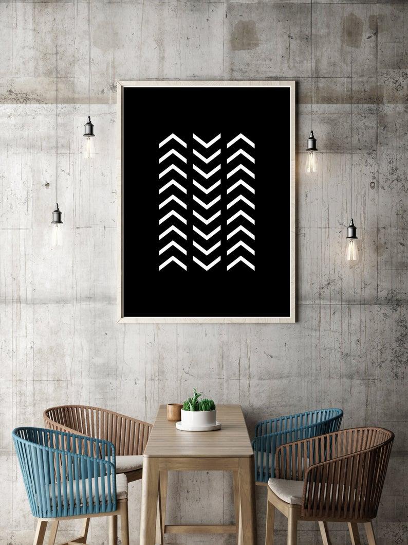 Black White Poster Monochromatic Wall Art Home Art Wall Accessories Geometric Print Modern Art Print Minimalist Art Print Avenue Wall Accessories Modern Art Prints Minimalist Art