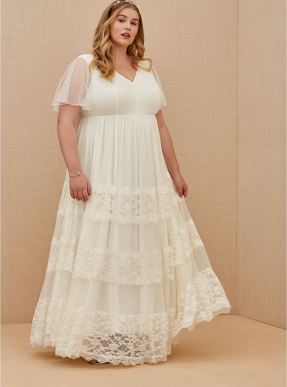 Ivory Lace A Line Boho Wedding Dress Simple Wedding Dress Casual Plus Size Wedding Gowns Casual Wedding Dress [ 1308 x 971 Pixel ]