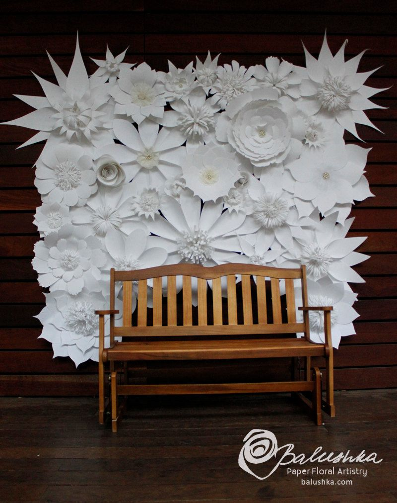 Wediing Paper Flower Backdrop Embellished With Lace By Balushka