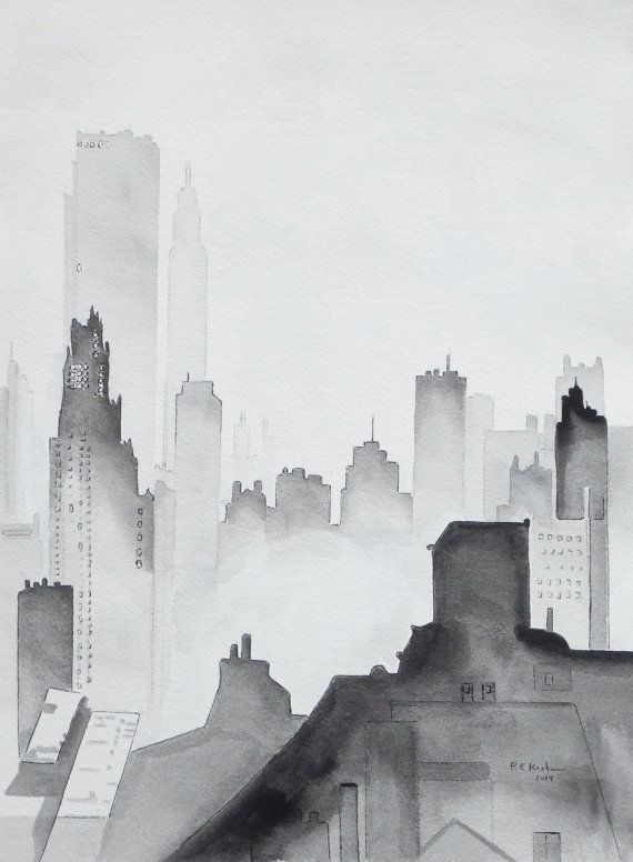 Modern contemporarybuildings city scape in black and white unframed 12 x 16 inches