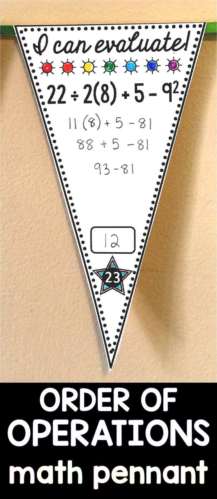 Order of Operations Pennant Activity Order of operations