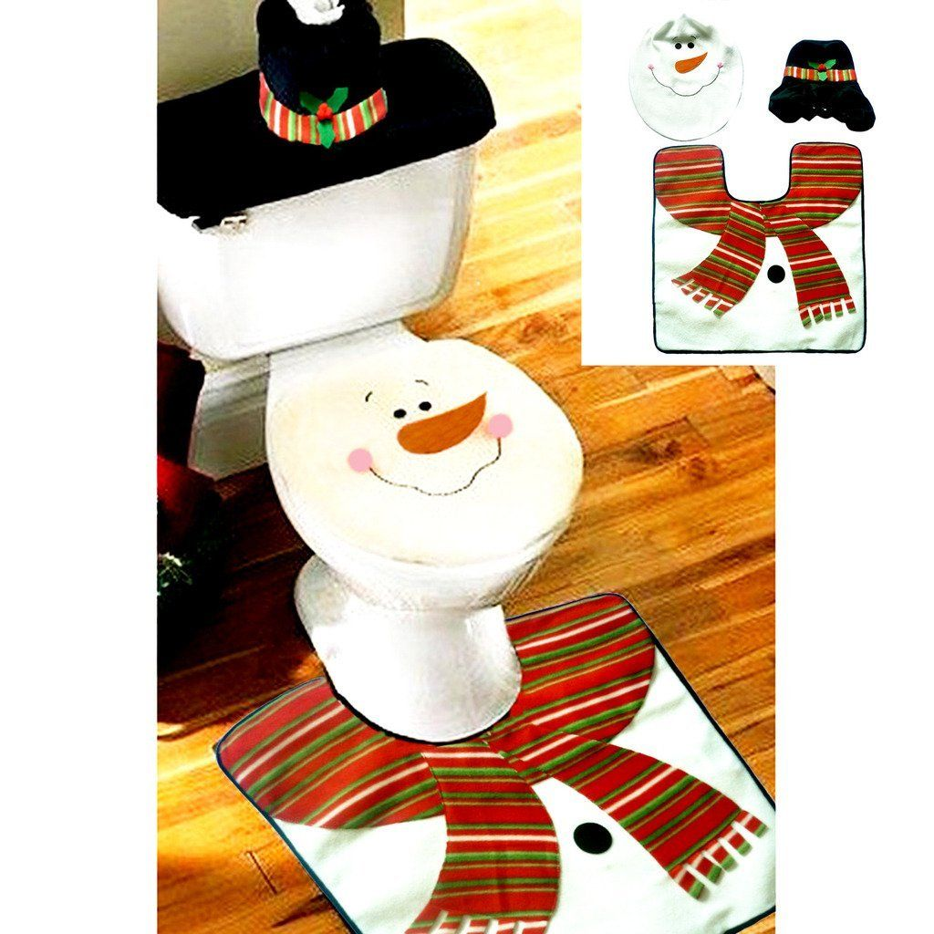 Fancy Santa Snowman Toilet Seat Cover And Rug Bathroom Set Contour Christmas Decorations For Natal Navidad