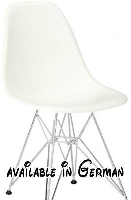 B0051OPE06 : Vitra 440022000104 Stuhl DSR Eames Plastic Sidechair Gestell  Verchromt Weiß. Designer: Charles