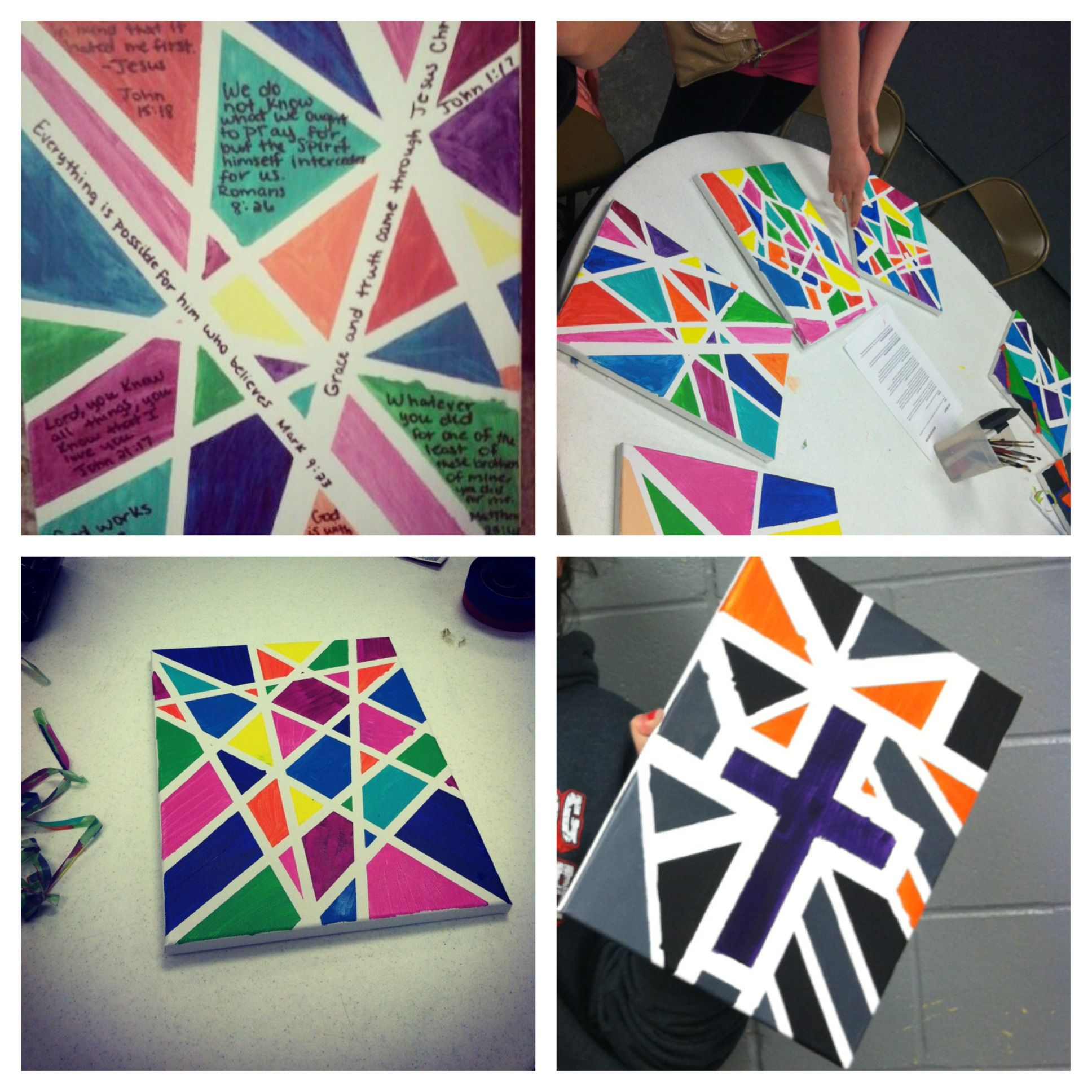 Painting Ideas With Tape: DIY Painting-Super Easy! You Can Do Any Pattern By Just