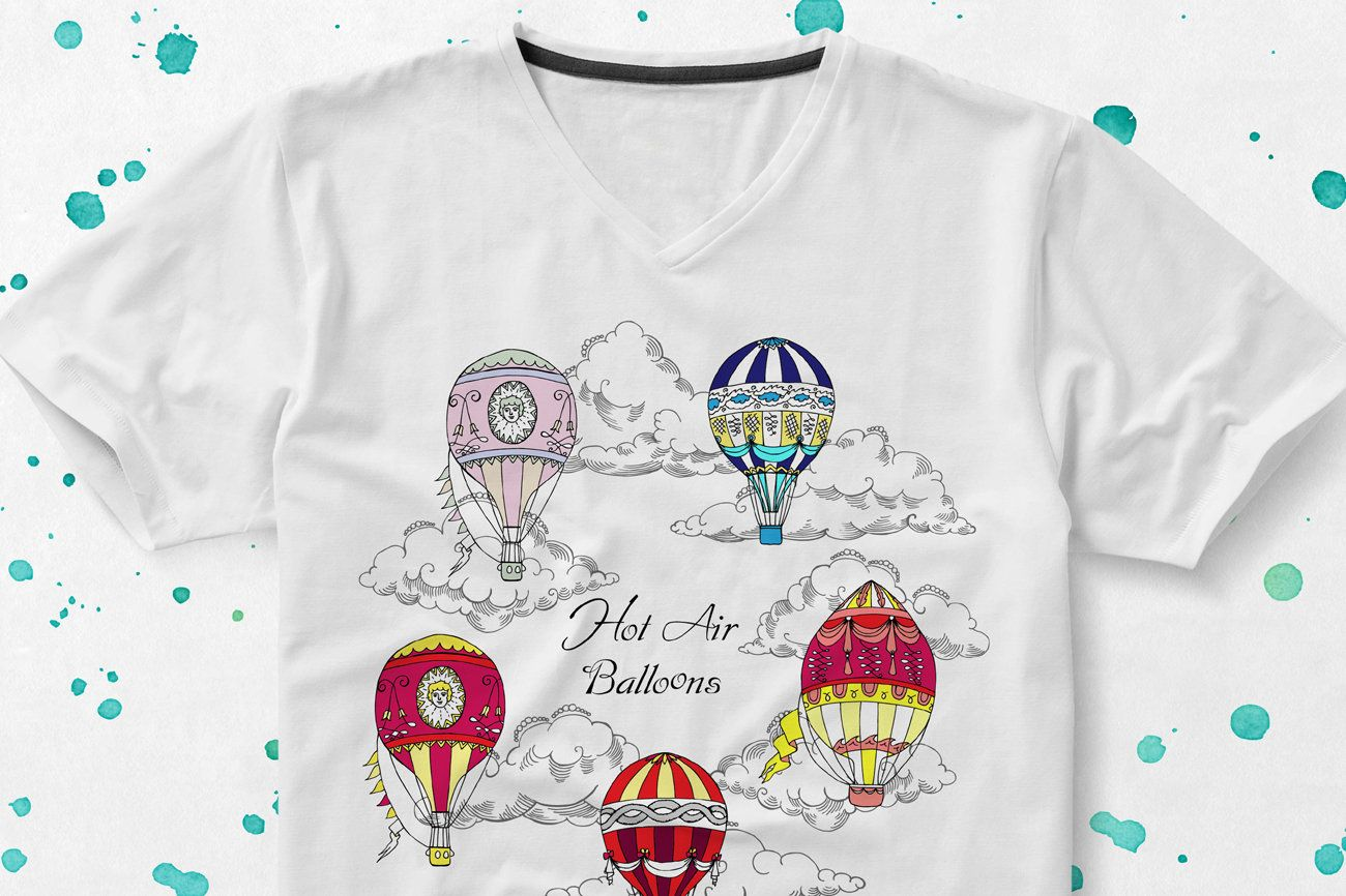 Hot Air Balloons Clipart with clouds, sky, air, retro