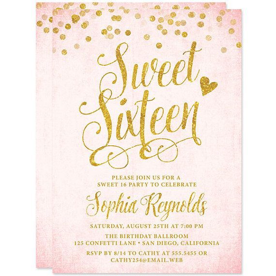 sweet 16 invitations blush pink gold confetti sweet sixteen