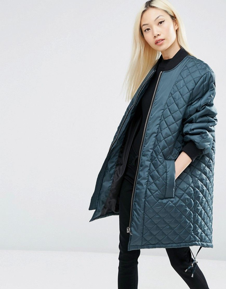 Asos Longline Quilted Jacket Quilted Jacket Jackets Long Bomber Jacket [ 1110 x 870 Pixel ]
