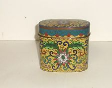 RARE OLD CHINESE BRONZE BUTTERFLY CLOISONNE ENAMEL LARGE OPIUM CANISTER JAR BOX