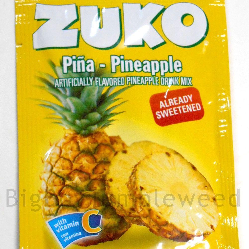 2 pack ZUKO Pineapple fruit instant Drink Mix .9 oz packet beverage Vitamin C #Zuko