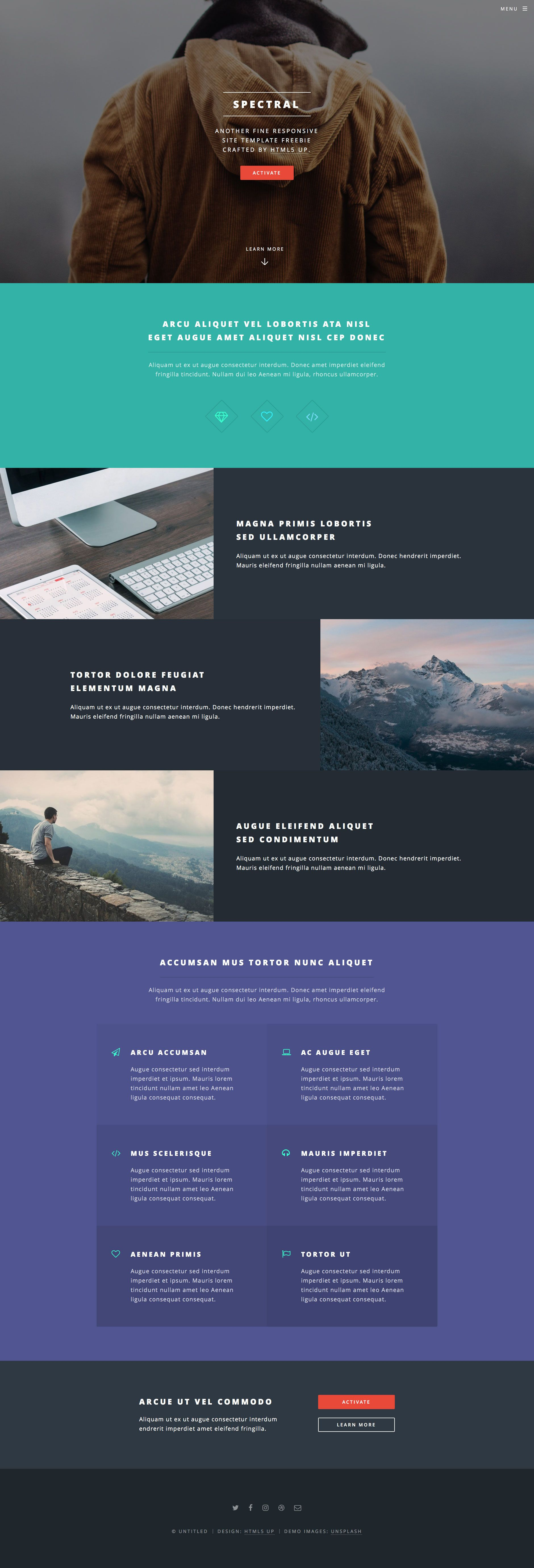 Spectral is a free responsive HTML5 website template for
