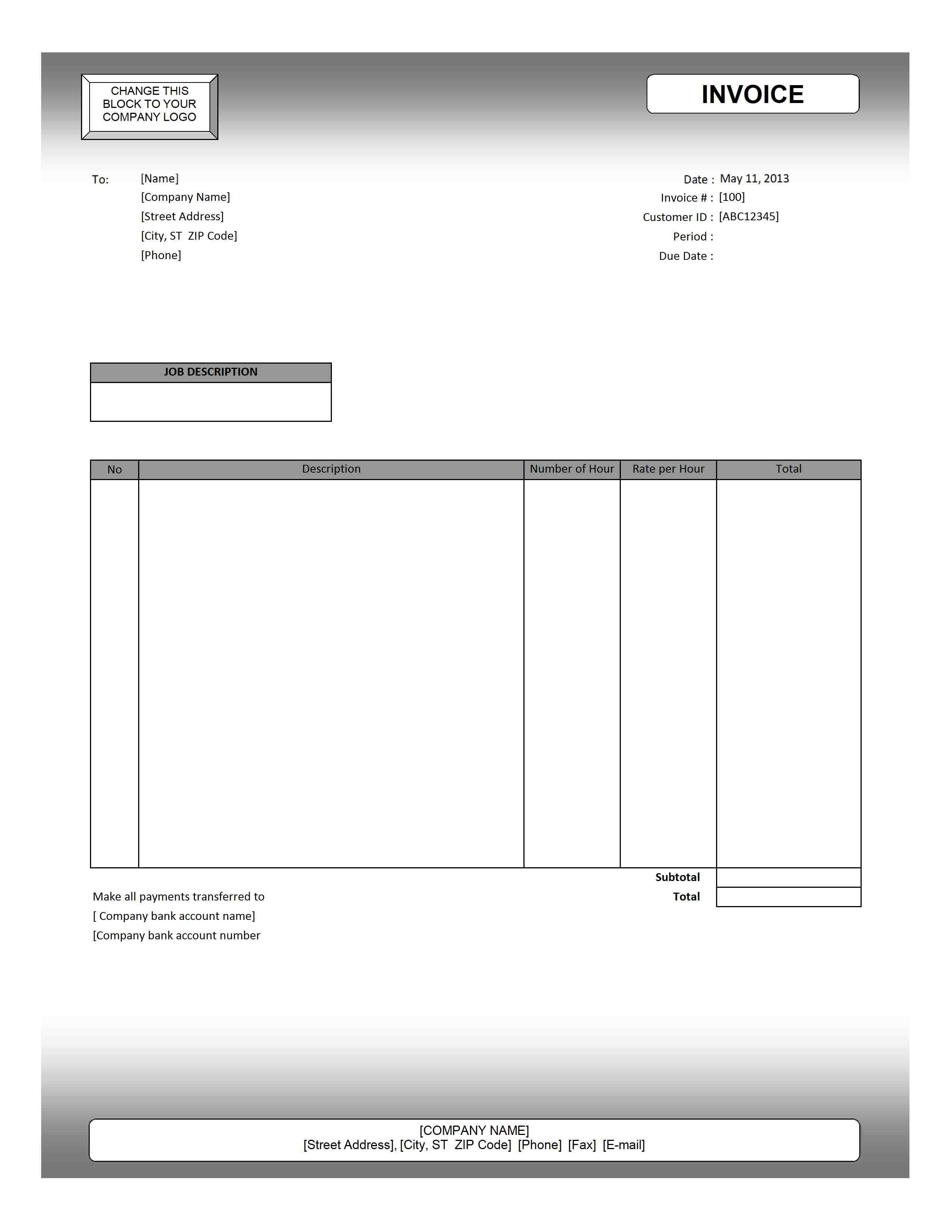 Service Invoice Template Printable Paper Invoices Service Invoice