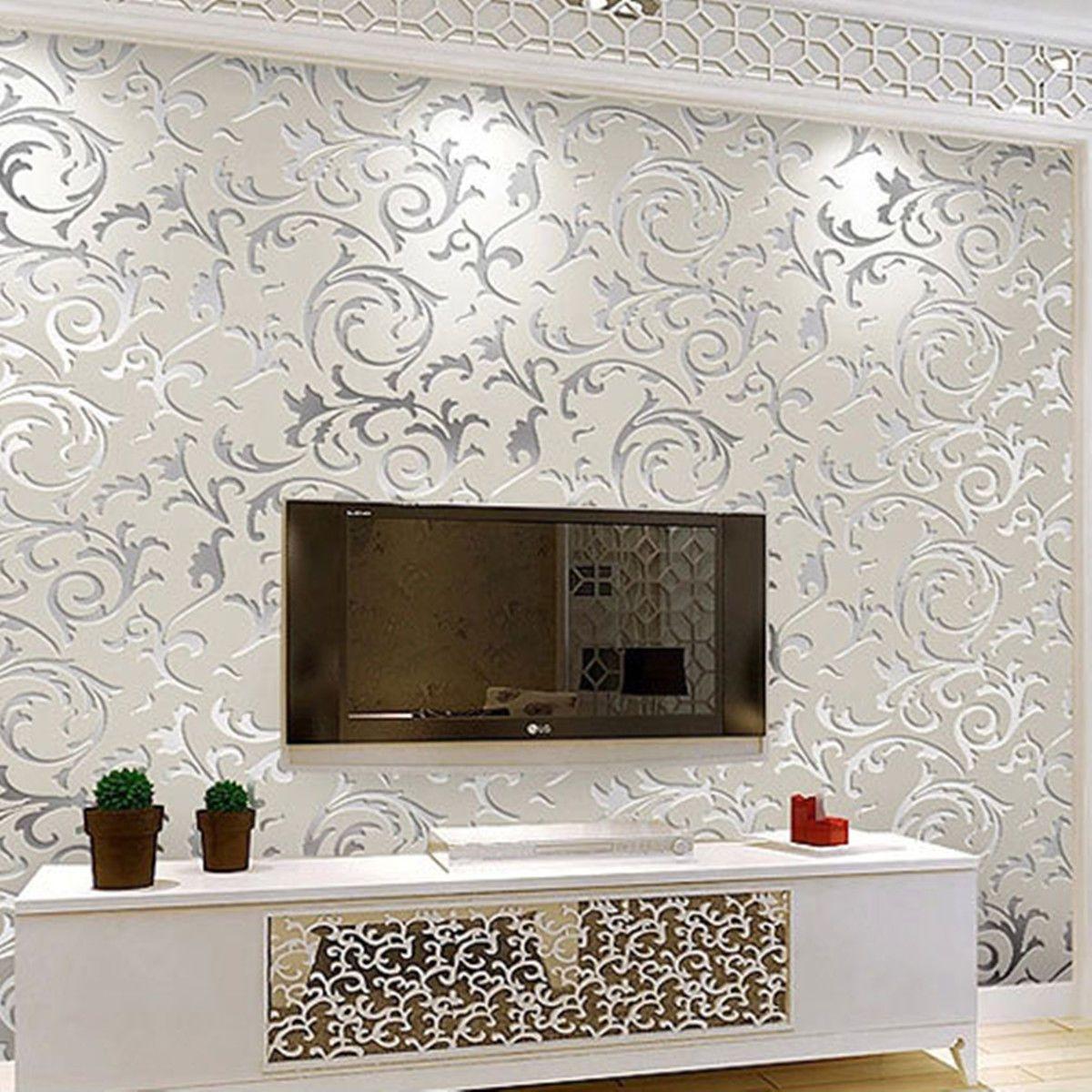 10m 3d Floral Textured Non Woven Wallpaper Rolls Hom