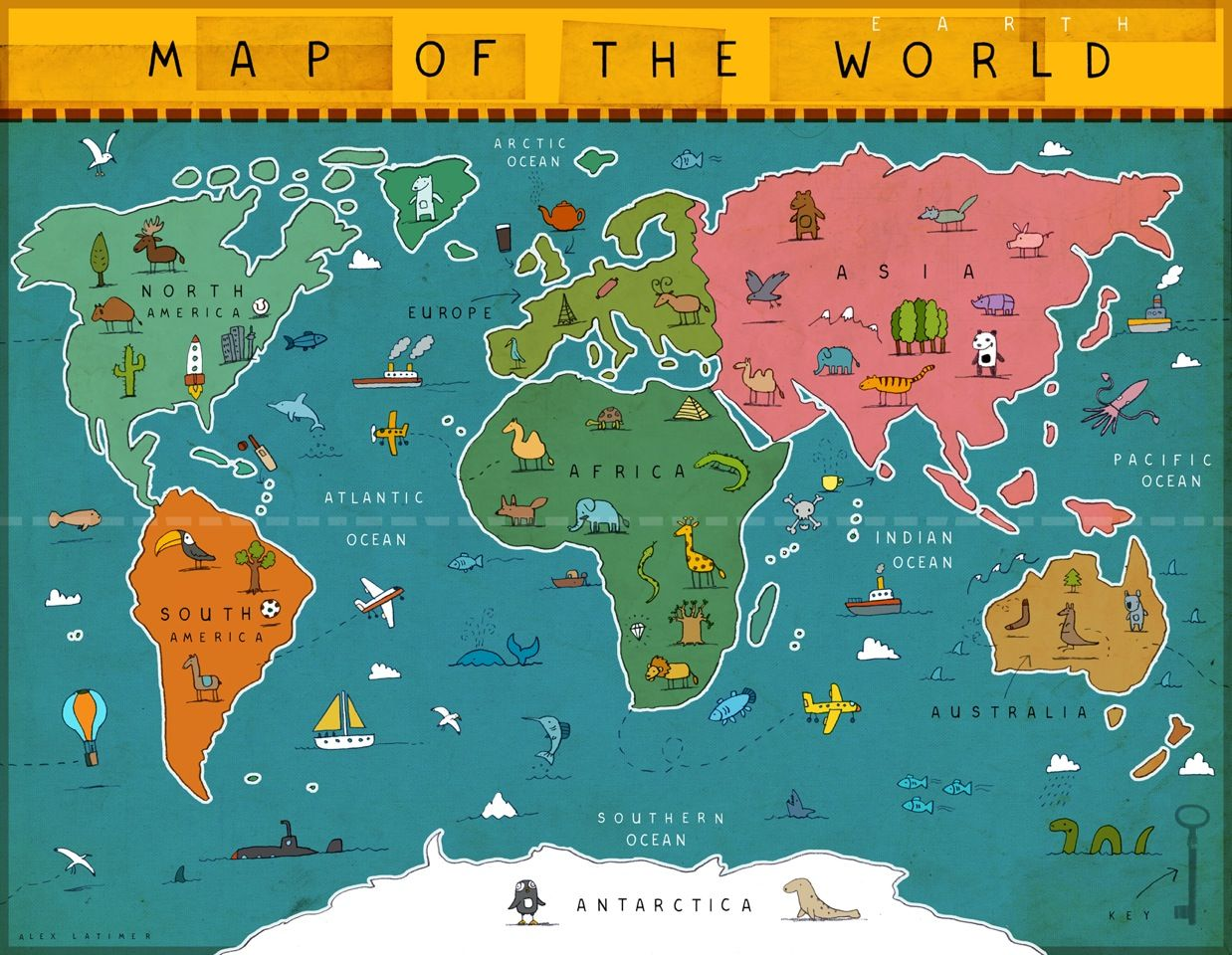World Map By Designer Alex Latimer Awesome Open Edition A - A3 printable world map