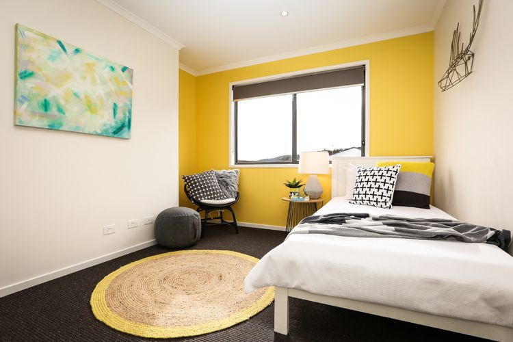 Kids Bedroom Yellow Feature Wall Cross Cushion Cement Lamp