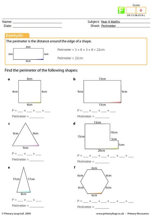 Year 4 Maths Perimeter worksheet – Perimeter Worksheet