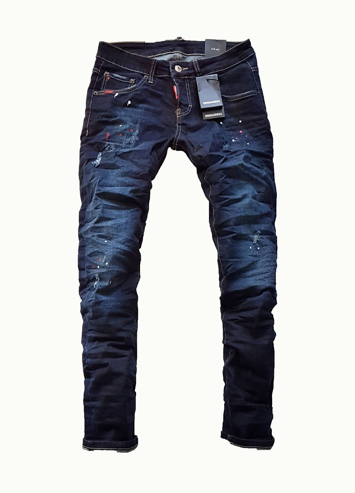 0a37e9d9f1e724 BRAND DSQ2 JEANS DSQUARED NEW SLIM FIT PAINTED RED BLUE MEN S BOY S JEAN  TAGS buy now