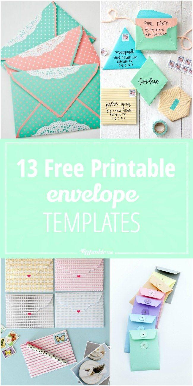 13 Free Printable Envelope Templates | Basteln