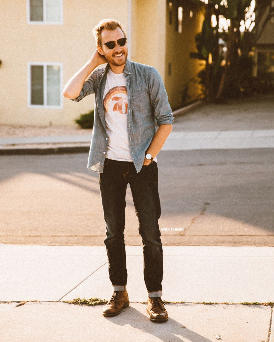 Wear a blue chambray long sleeve shirt with black jeans for
