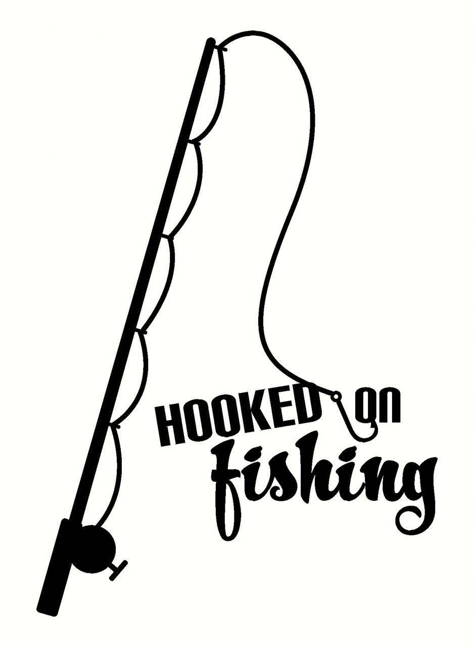 Hooked on fishing wall decal sticker with fish pole wall for Fishing stickers and decals