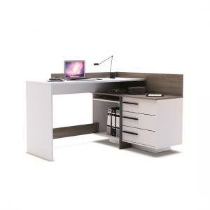Marvin Corner Computer Desk In Dark Oak And Pearl White Corner Computer Desk Office Furniture Computer Desk Corner Desk