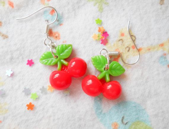 3631bdfe420d1 Cherry Earrings, Kawaii Earrings, Kawaii Cherry Earrings, Cute ...