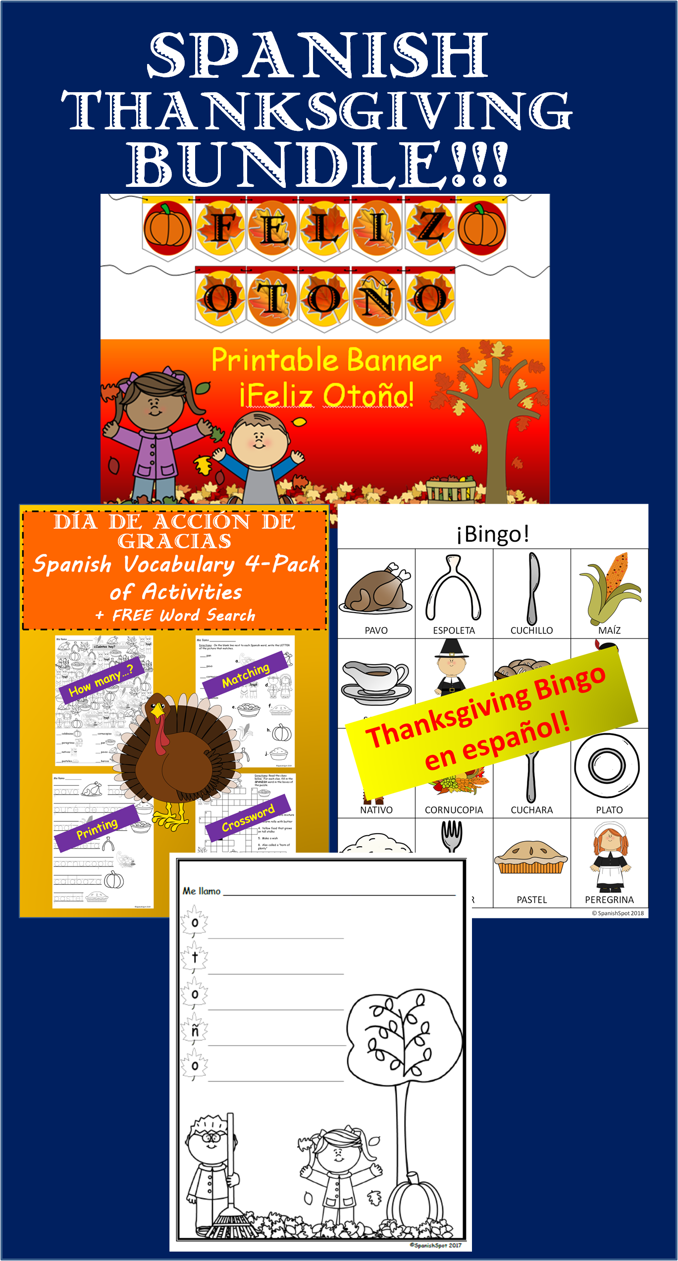 Spanish Thanksgiving Fall Bundle Dia De Accion De
