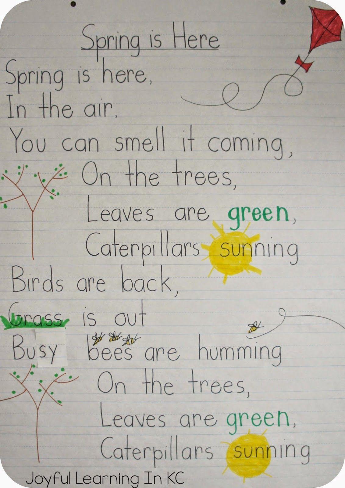 Spring Poems for Shared Reading Time   Spring poem, Kindergarten ...