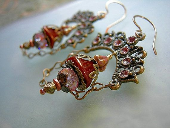 Bollywood Chandelier Earrings .Pink & Sparkly .Bellydance, Hollywood Glam. $33.00