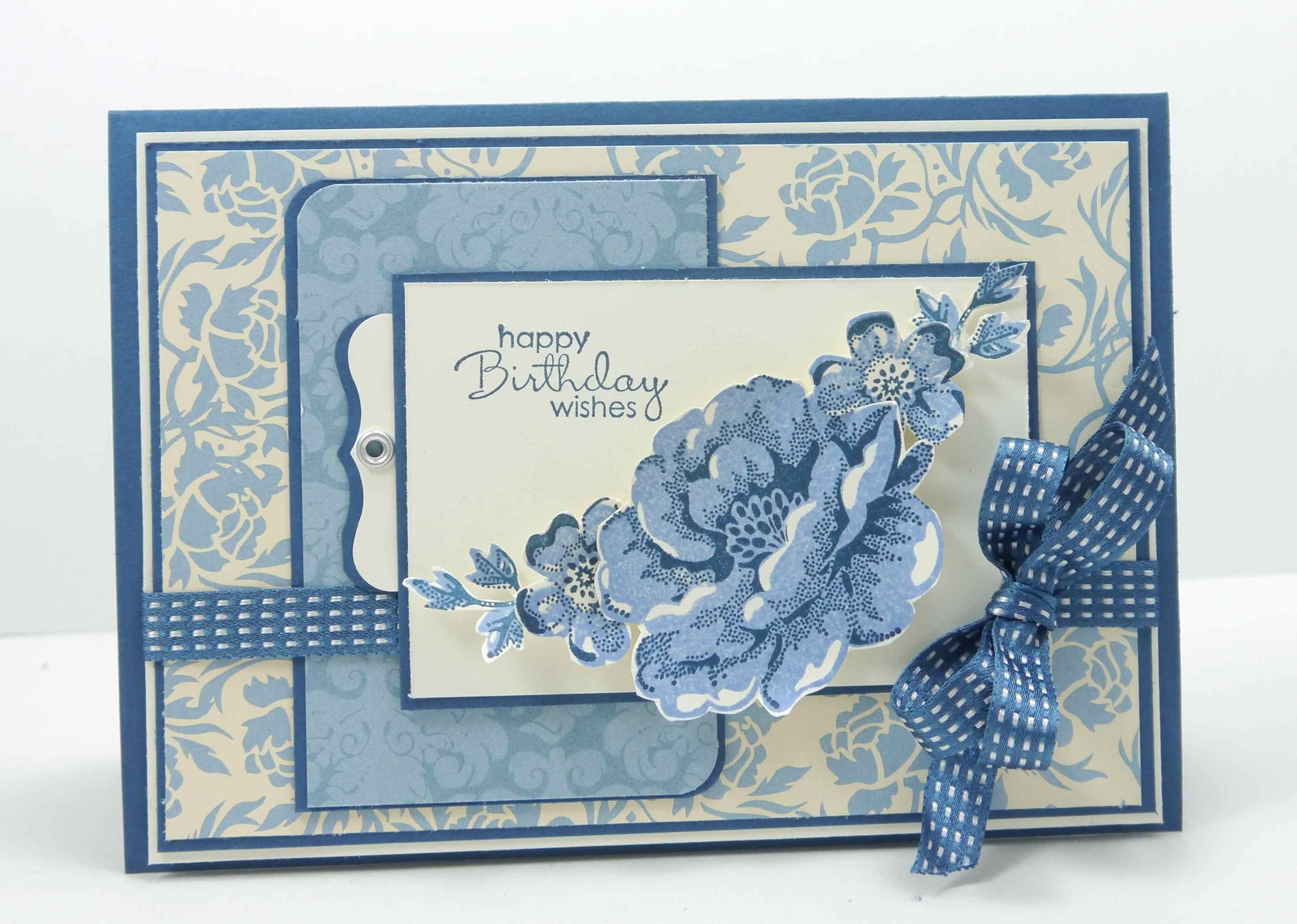 SU Stamp sets: Petite Pairs/ Stippled Blossoms (ret.),  Bella Bleu DSP, Midnight Muse.