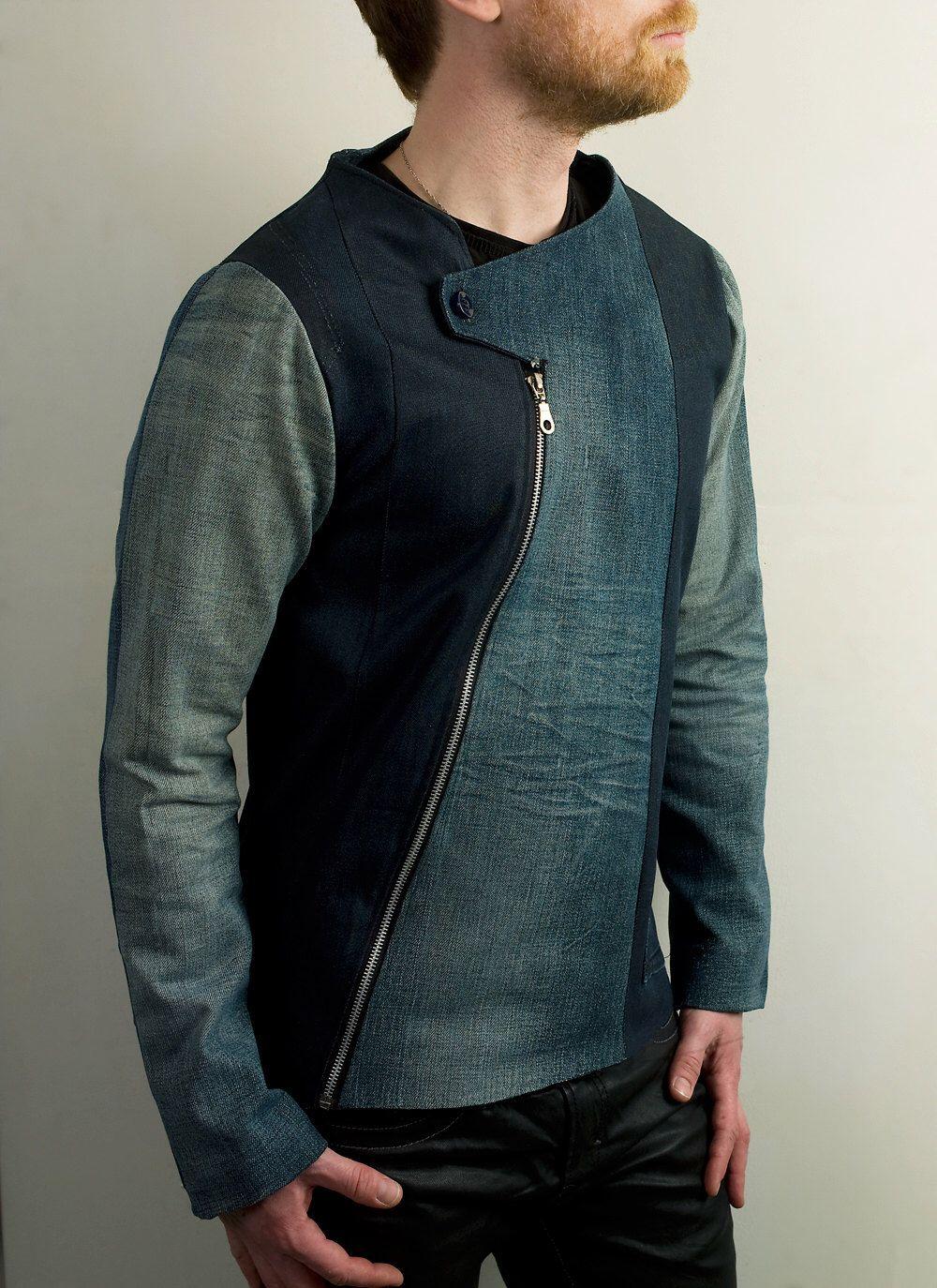 Mens Futuristic Asymmetrical Denim jacket by PopLoveHis on Etsy ...