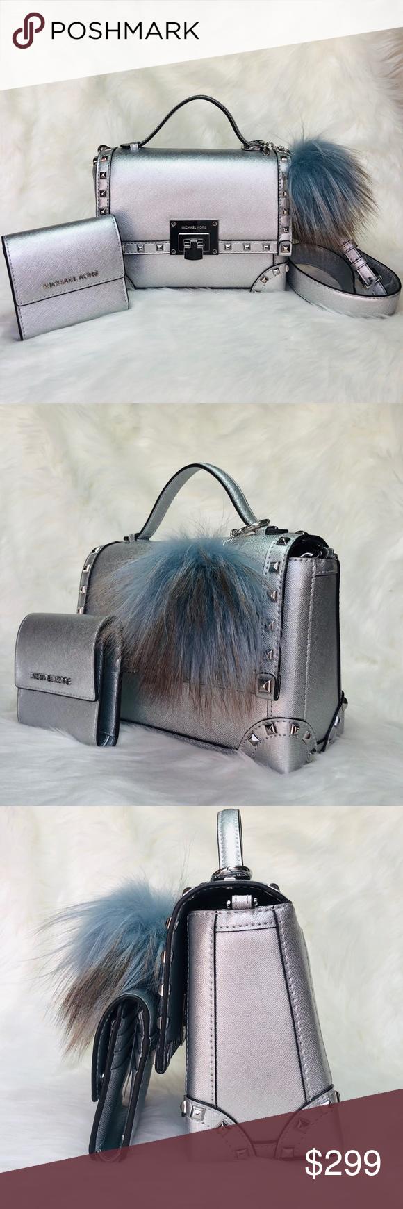 940c45ecf3d45 3PCS Michael Kors Tina Studded Bag Wallet Charms MK Tina Small Studded  Trunk Bag and Wallet