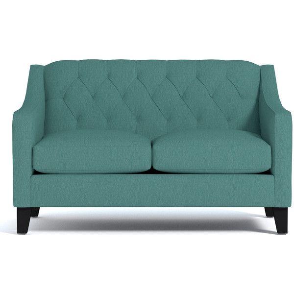 Apt2B Jackson Seafoam Green Apartment Size Sofa (79.545 RUB) ❤ liked on Polyvore featuring home, furniture, sofas, tufted furniture, tufted couch and tufted sofa