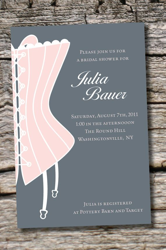 classy corset bridal shower invitation bachelorette party invitation you print