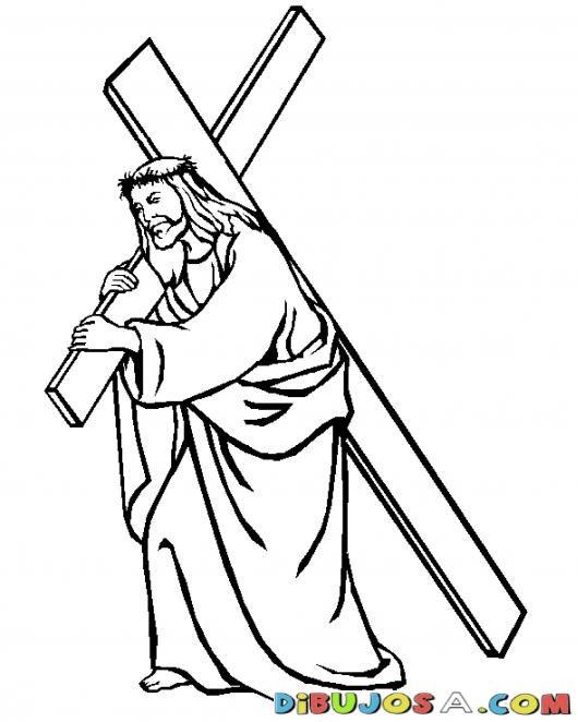 Dibujo para pintar de Jesus cargando su cruz  COLOREAR BIBLICOS