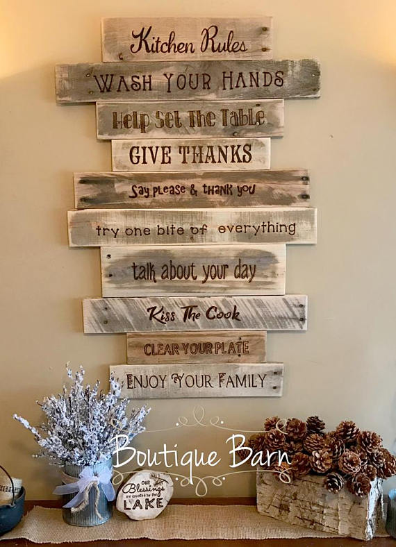 Kitchen Rules Sign Rustic Country Farmhouse Wood Wall Decor